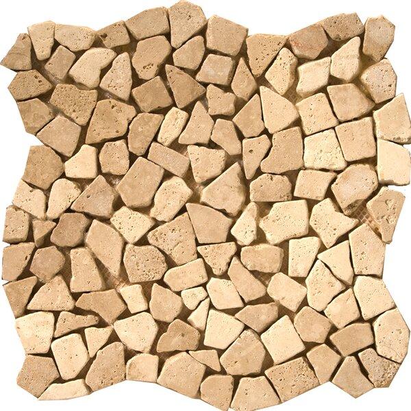 Travertine 12 x 12 Pebble Mosaic in Beige by Emser Tile