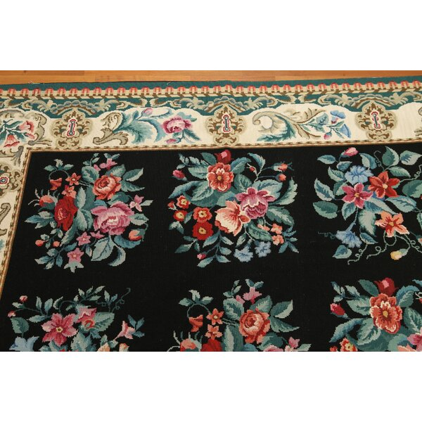 One-of-a-Kind Reaves Needlepoint Hand-Knotted Wool Black/Ivory Area Rug by Astoria Grand