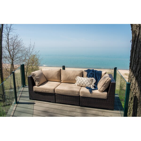 Darden Patio Sofa with Cushions by Rosecliff Heights