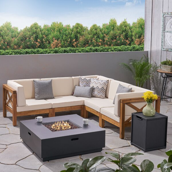 Squared Outdoor 7 Piece Sectional Seating Group with Cushions by Longshore Tides