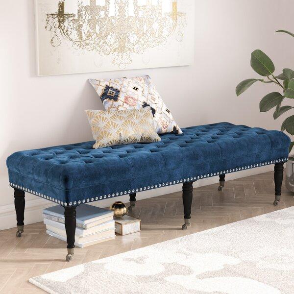 Home & Outdoor Cline Velvet Upholstered Bench