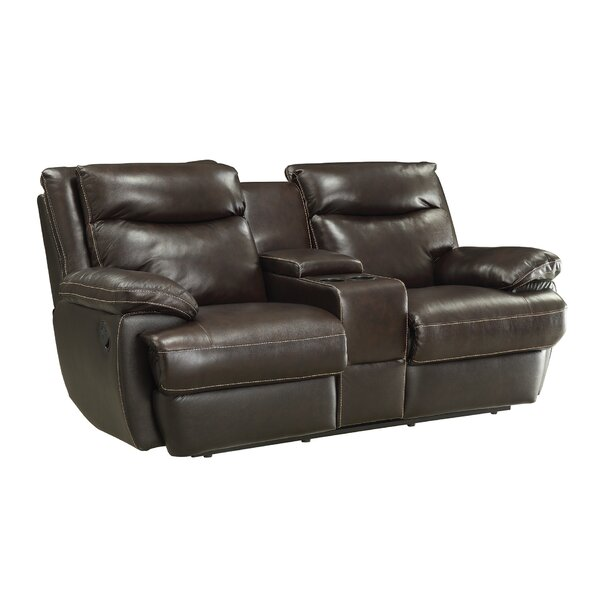 Low Price Hughes Leather Reclining Loveseat by Red Barrel Studio by Red Barrel Studio