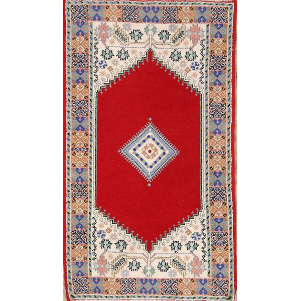 Neveah Morocco Oriental Hand-Knotted Wool Red/Burgundy Area Rug by Bloomsbury Market