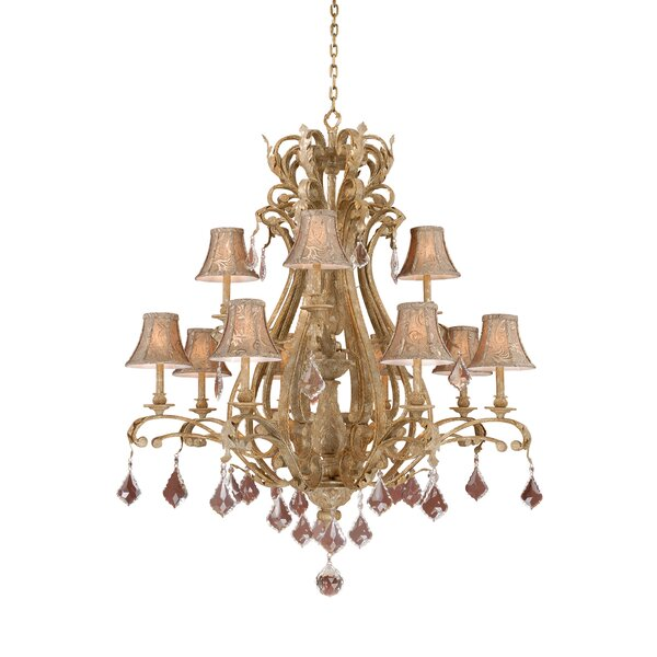 Broughton 12 - Light Shaded Tiered Chandelier By Fleur De Lis Living