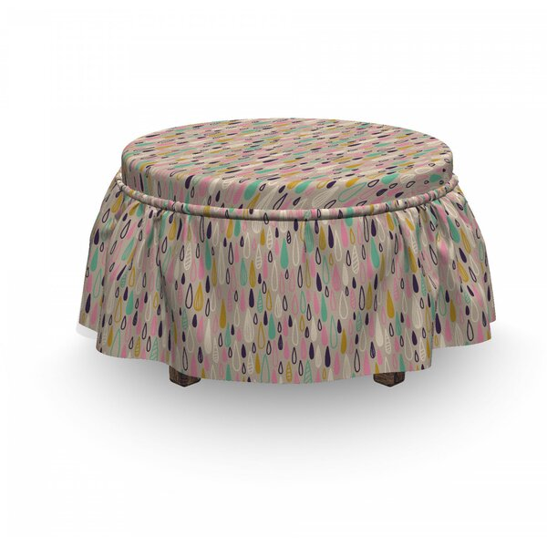 Hand Drawn Raindrops Motif Ottoman Slipcover (Set Of 2) By East Urban Home