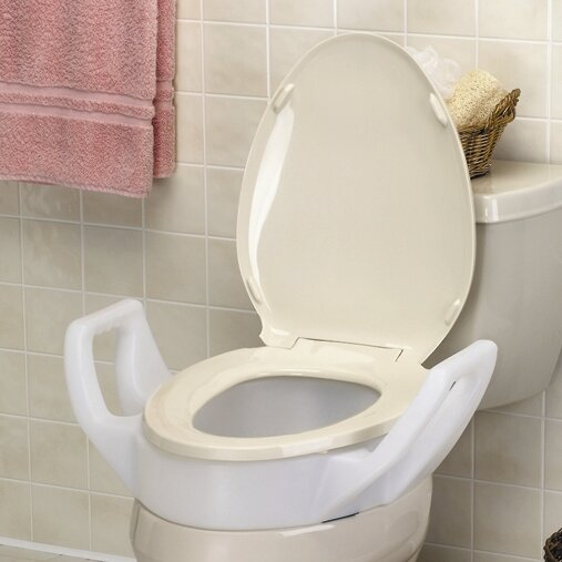 Elevated Raised Toilet Seat With Arms Standard By Maddak.