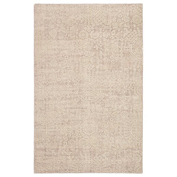 Blanding Medallion Hand-Knotted Wool Beige Area Rug