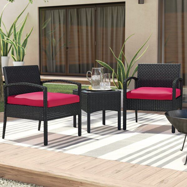 Kobe 3 Piece Rattan Conversation Set with Cushions by Wade Logan