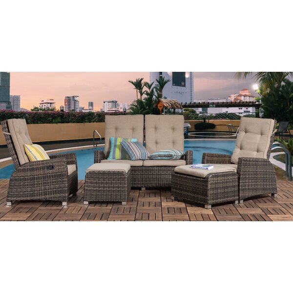 Delatorre Outdoor 5 Piece Rattan Sofa Seating Group with Cushion by Highland Dunes