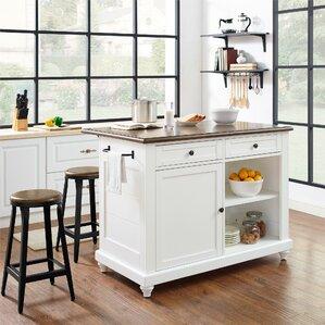 kitchen island table. Gilchrist Kitchen Island Set Islands  Carts You ll Love Wayfair