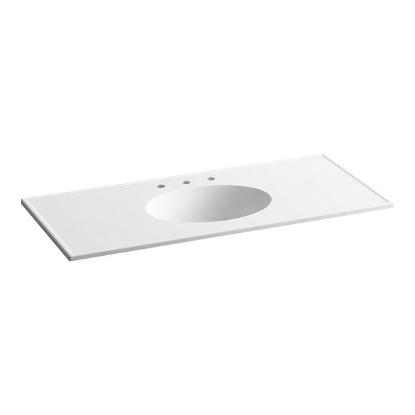 Ceramic Impressions Water Rectangular Dual Mount Bathroom Sink with Overflow by Kohler