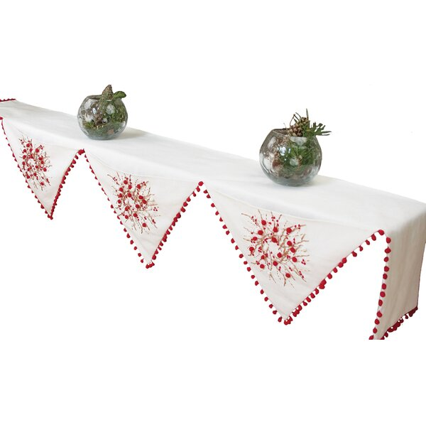 Holiday Berry Wreath Polyester Mantel Scarf by Xia Home Fashions