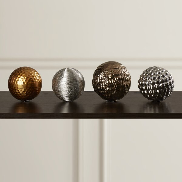4 Piece Ceramic Decorative Ball Sculpture Set by Willa Arlo Interiors