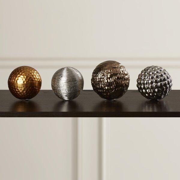 4 Piece Ceramic Decorative Ball Sculpture Set by W