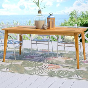 Compare prices Telma Teak Dining Table By Beachcrest Home