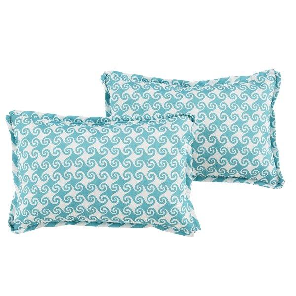 Estelle Waves Indoor/Outdoor Flange Lumbar Pillow (Set of 2) by Bayou Breeze
