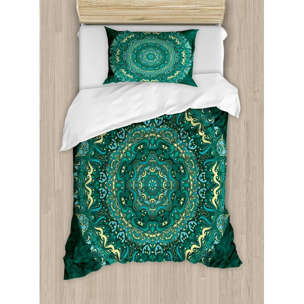 Mandala Religious Eastern Ancestral Circle Form with Swirling Leaves Revival Retro Design Duvet Set by Ambesonne