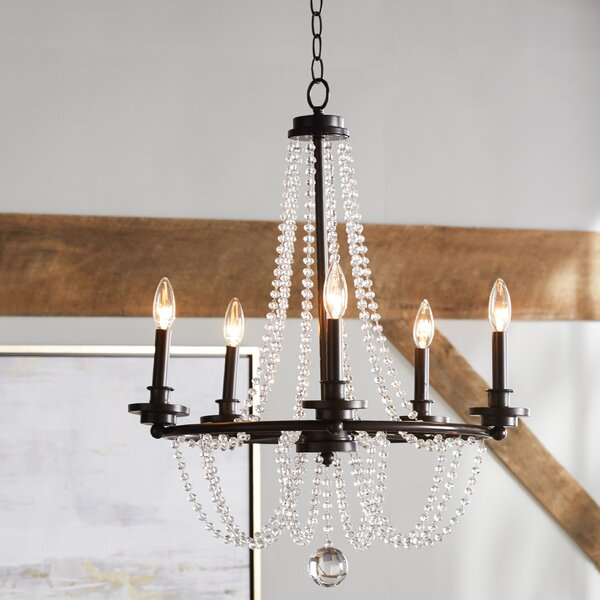 Byromville 5 - Light Candle Style Wagon Wheel Chandelier With Crystal Accents By One Allium Way