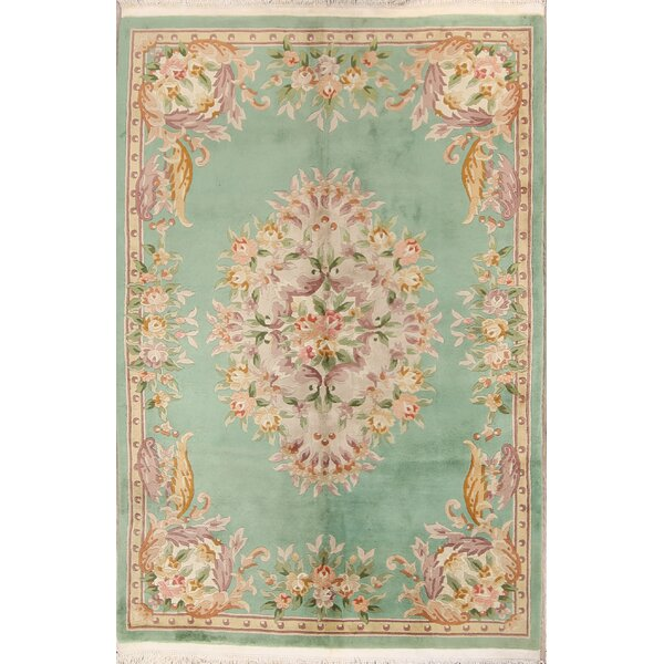 Sonia Art Deco Chinese Oriental Hand-Knotted Wool Beige/Green Area Rug by Bungalow Rose
