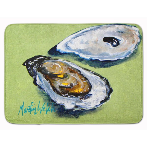 Seagrove Oyster 2 Shells Rectangle Microfiber Non-Slip Bath Rug