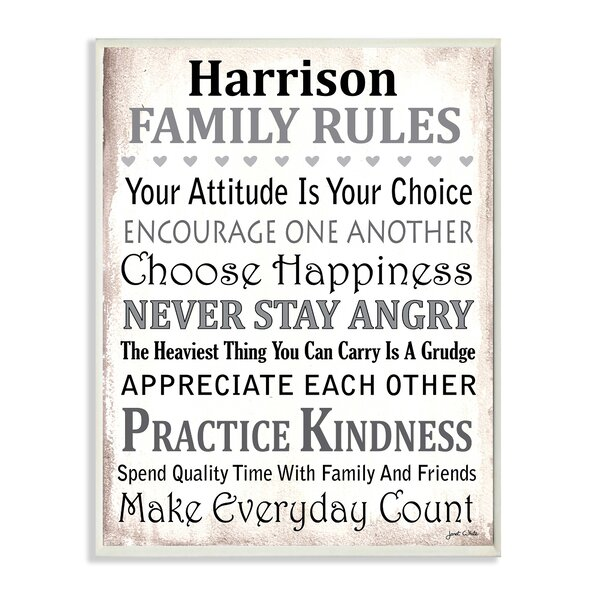 Personalized Family Rules by Janet White Textual Art on Wood by Stupell Industries