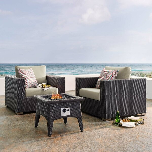 Brentwood 3 Piece Rattan Seating Group with Cushions by Sol 72 Outdoor