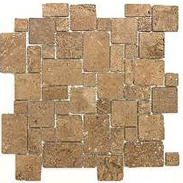 Noce Mini Versailles Random Sized Travertine Mosaic Tile in Brown by Epoch Architectural Surfaces