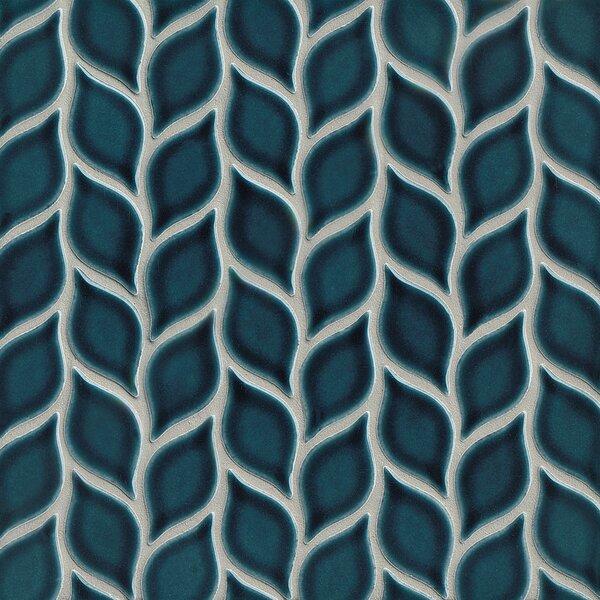 Park Place Foliole Ceramic Mosaic Tile in Dark Blue