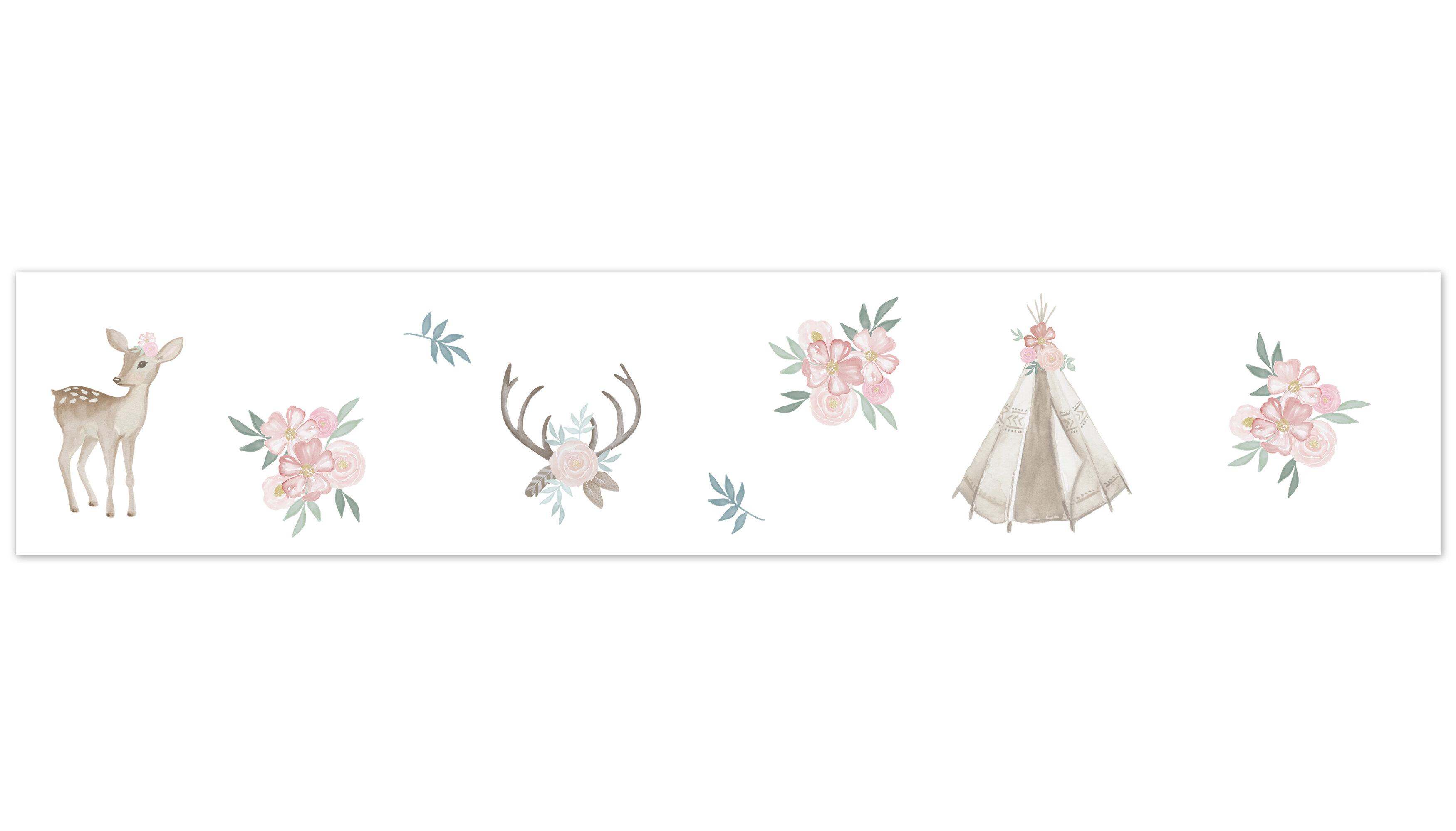 Sweet Jojo Designs Deer Floral 15 L X 6 W Smooth Wallpaper