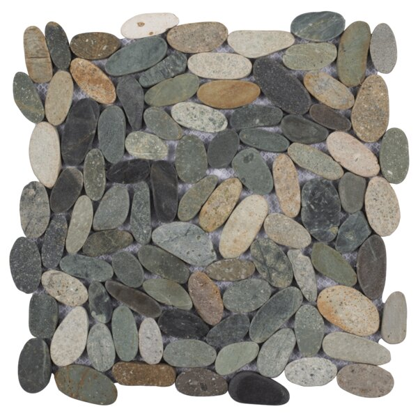 Cigars Sliced Random Sized Natural Stone Pebble Tile in River Gray by Pebble Tile
