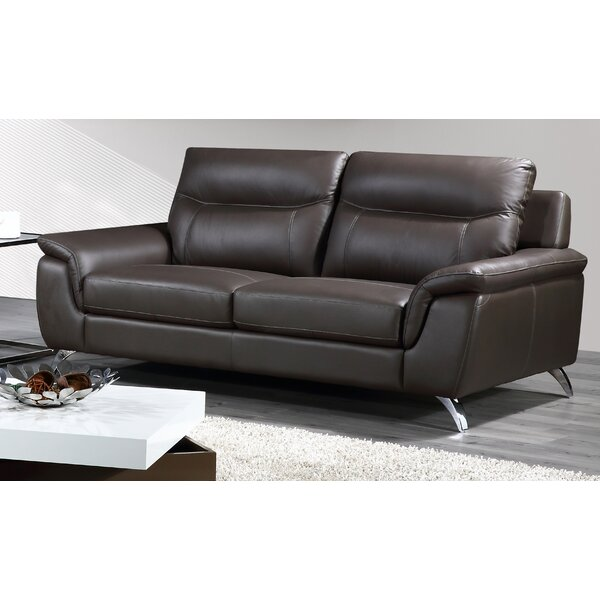 Lorrain Genuine Leather 78.75-inch Flared Arm Sofa by Orren Ellis Orren Ellis