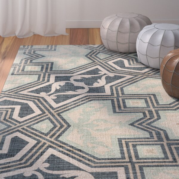 Aimee Blue/Beige Area Rug by Bungalow Rose
