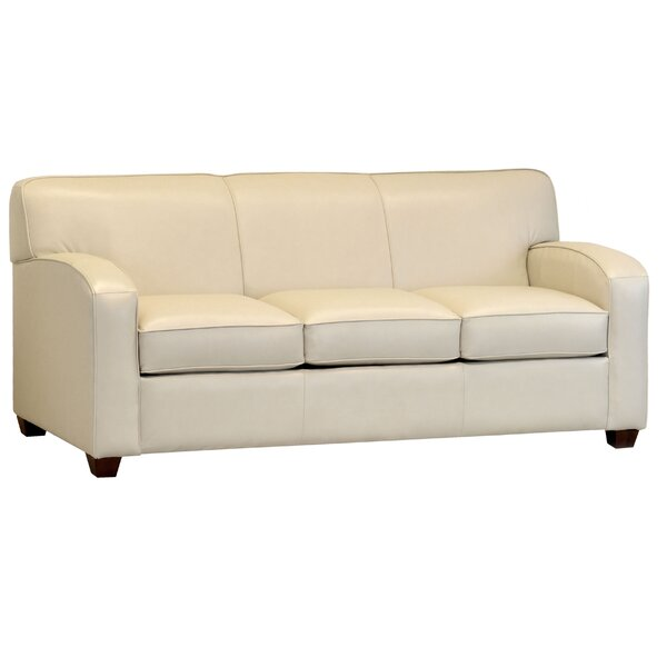Sales Made In Usa McTurck Cream Top Grain Leather Sofa Bed