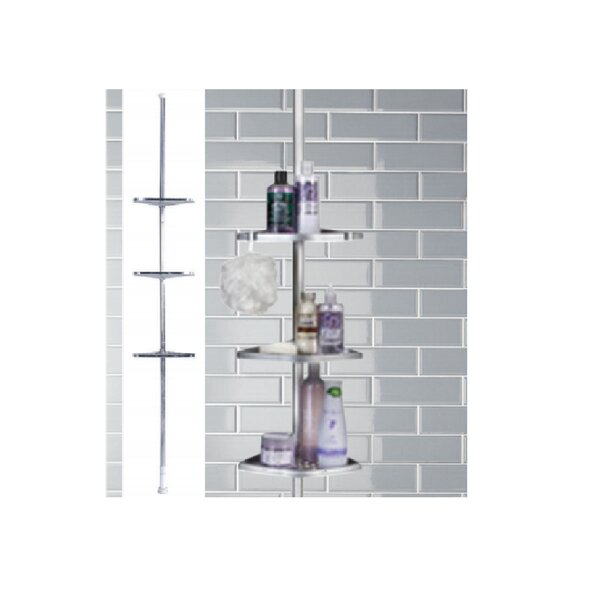 3-Tier Chrome Tension Pole Shower Caddy by Rebrilliant