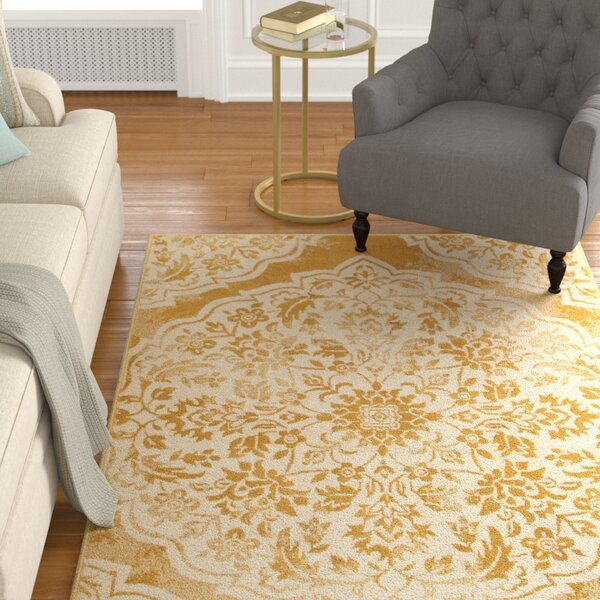 Ravenwood Gold/Beige Area Rug by Alcott Hill