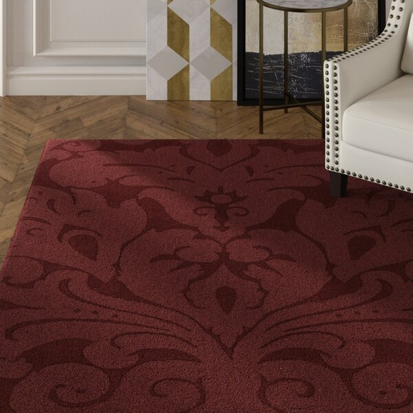 Raya Contemporary Wool Red Area Rug by Rosdorf Park