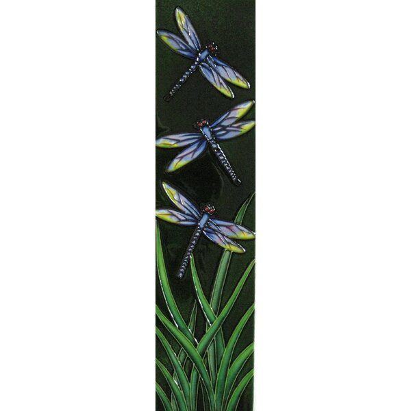 4 x 16 Ceramic Three Dragonflies Decorative Mural Tile by Continental Art Center