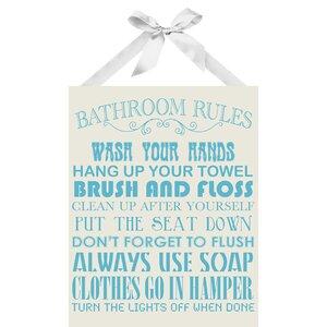 'Bathroom Rules Textual' Art on Plaque by Viv + Rae
