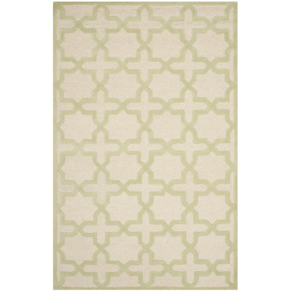Martins Ivory / Light Green Area Rug by Wrought Studio