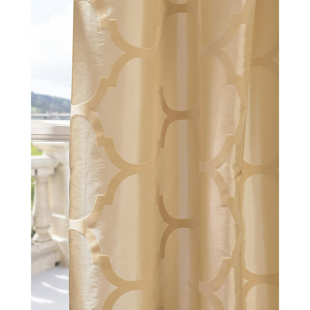 Half Price Drapes Marakesh Bone Flocked Taffeta Geometric Semi Sheer Pinch Pleat Single Curtain