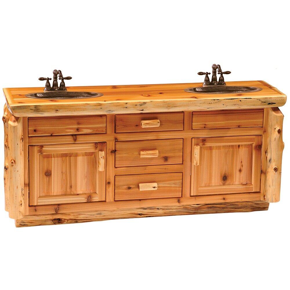 Log bathroom vanity - Traditional Cedar Log 72 Bathroom Vanity Base