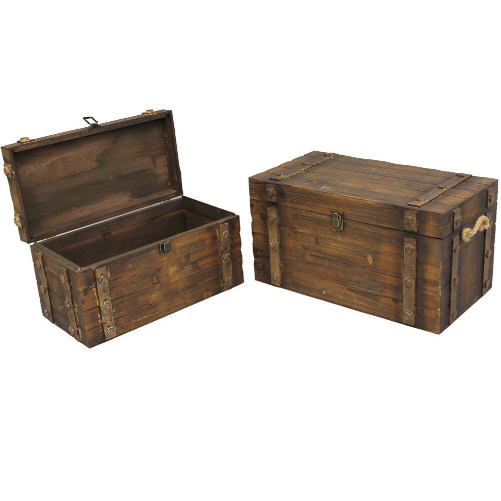 Loon Peak Lodi 2 Piece Wood Storage Trunk Set Reviews