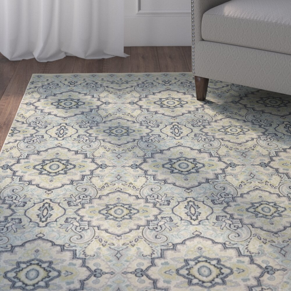 Charlton Home Montville Santa Ana Blue Cream Area Rug