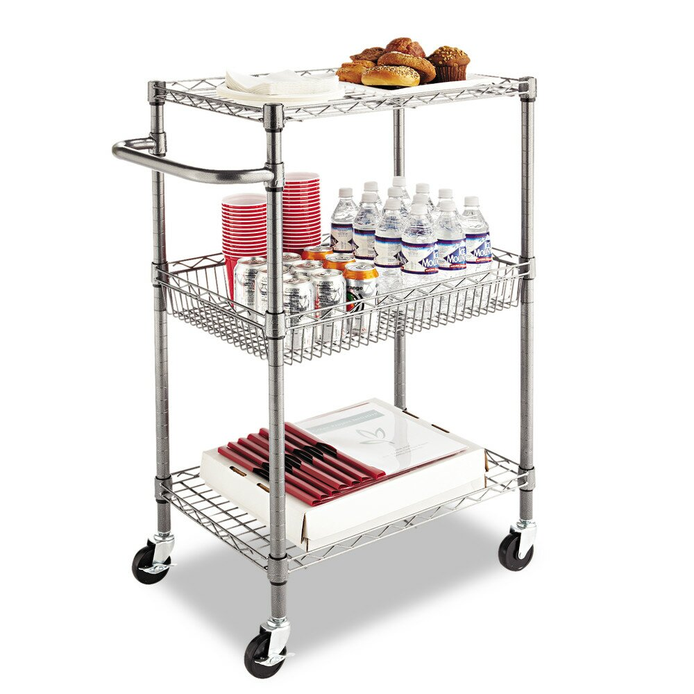 "Alera Industrial Kitchen Carts At Lowes Com: Alera 36"" Wire Shelving 3 Tier Utility Cart & Reviews"