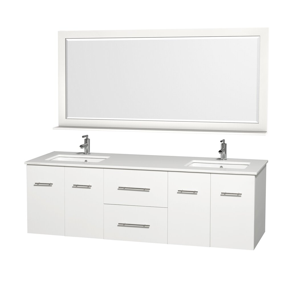 Wyndham Collection Centra 72 Double White Bathroom Vanity