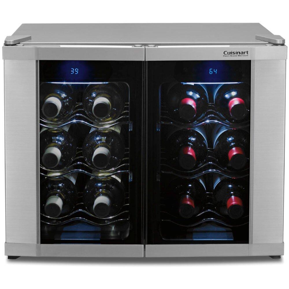 Cuisinart 12 Bottle Dual Zone Freestanding Wine Cooler & Reviews ...
