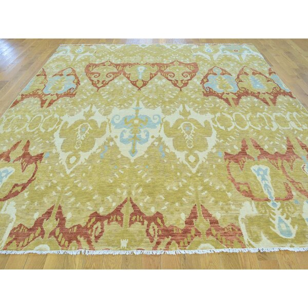 One-of-a-Kind Blocher Ikat Uzbek Design Hand-Knotted Yellow Wool Area Rug by Isabelline