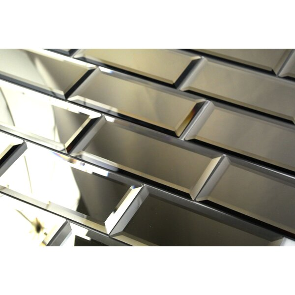 Echo 3 x 6 Mirror Glass Peel & Stick Subway Tile in Gold by Abolos