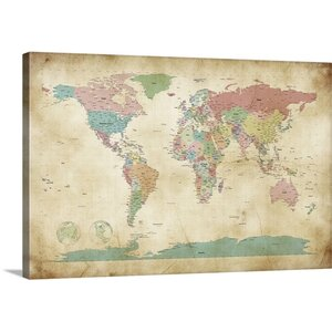 'Political Map of the World Map' by Michael Tompsett Graphic Art on Wrapped Canvas by Great Big Canvas