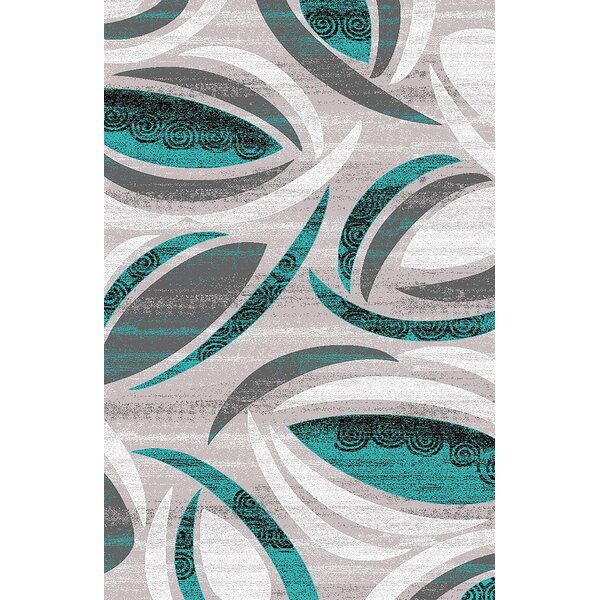Mccampbell 3D Hand Carved Turquoise/Gray Area Rug by Ivy Bronx
